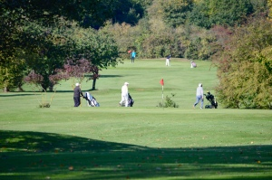 A photo of golfers walking their caddies between holes at Chingford Golf Course